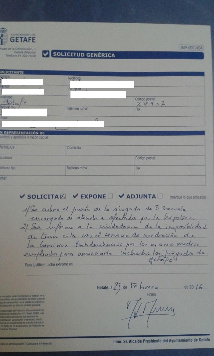 Una de las hojas de registro presentadas en Ayto Getafe por PAH Getafe